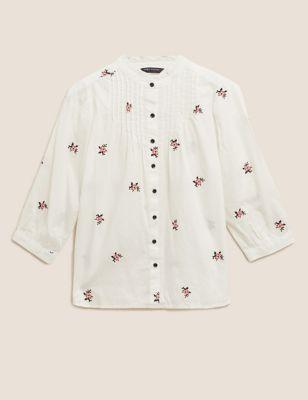 Pure Cotton Floral Regular Fit Blouse
