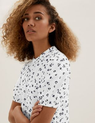 Printed Frill Neck Puff Sleeve Top