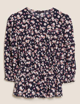 Floral Regular Fit 3/4 Sleeve Peplum Top