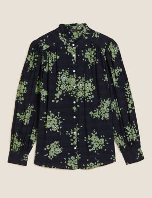 Floral High Neck Pintuck Long Sleeve Blouse