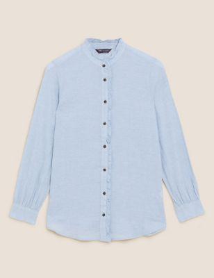 Cotton Frill Detail Longline Shirt
