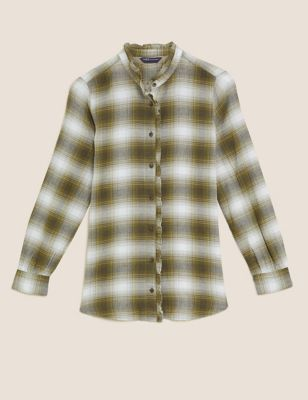 Cotton Checked Frill Detail Longline Shirt