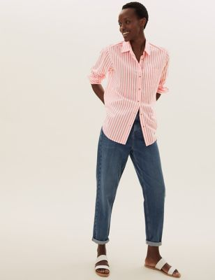 Pure Cotton Striped Collared Relaxed Shirt