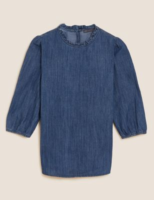 Denim Frill Neck Relaxed Top