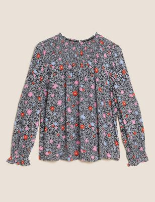 Floral Relaxed Smocked Blouse