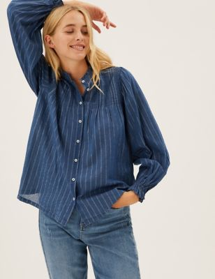 Cotton Sparkly Striped Long Sleeve Blouse