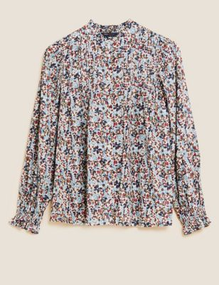 Cotton Sparkly Printed Long Sleeve Blouse