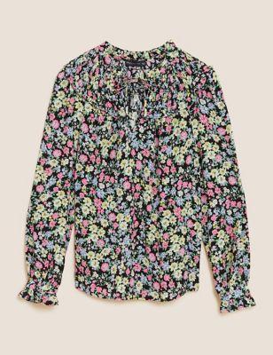Ditsy Floral Tie Neck Regular Fit Blouse