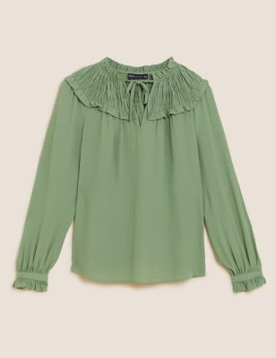 Tie Neck Shirred Long Sleeve Blouse