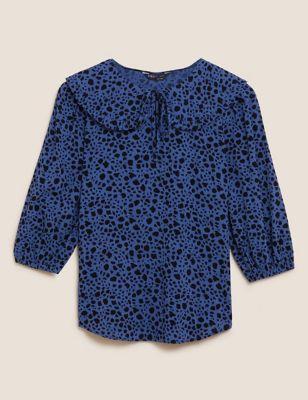 Cotton Regular Fit Blouson Sleeve Blouse