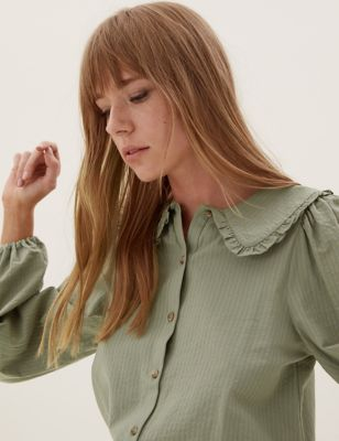 Cotton Textured Collared Regular Fit Blouse