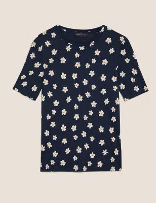 Pure Cotton Floral Regular Fit T-Shirt