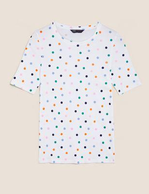 Pure Cotton Polka Dot  Regular Fit T-Shirt