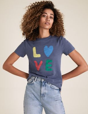 Pure Cotton Love Slogan Crew Neck T-Shirt