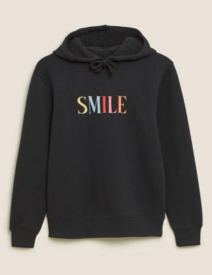 Cotton Smile Slogan Relaxed Hoodie