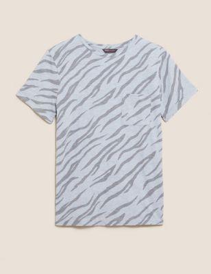 Pure Cotton Camo Crew Neck T-Shirt