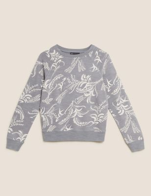 Pure Cotton Floral Crew Neck Sweatshirt