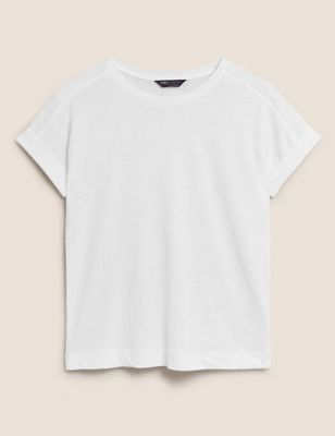 Linen Crew Neck Straight Fit T-Shirt