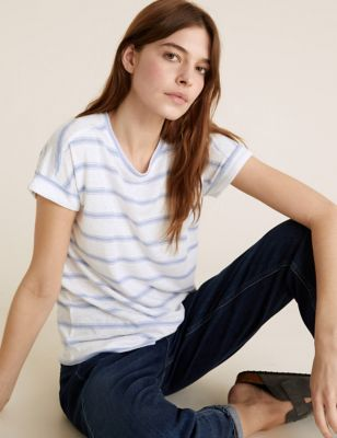 Linen Striped Straight Fit T-Shirt