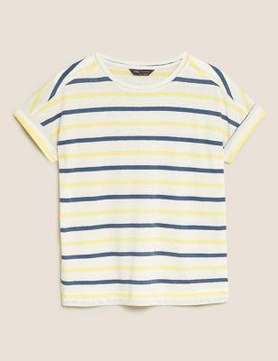 Linen Striped Crew Neck T-Shirt