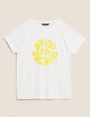 Linen Bring On Sunshine Slogan T-Shirt