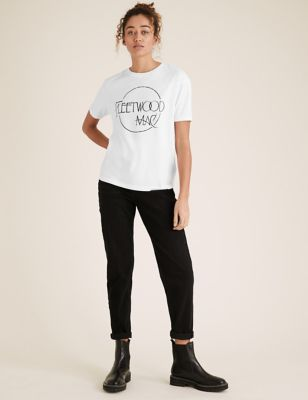 Pure Cotton Fleetwood Mac Slogan T-Shirt