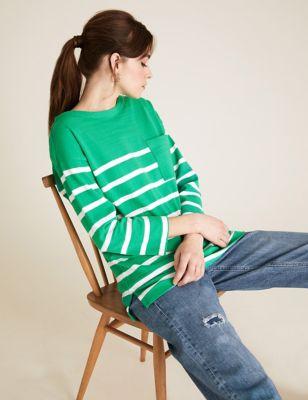 Pure Cotton Striped 3/4 Sleeve Tunic