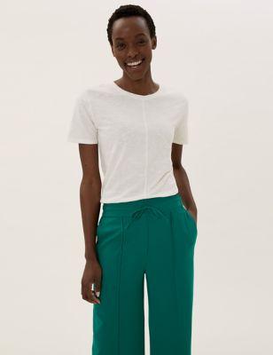 Pure Cotton Crew Neck Longline T-Shirt