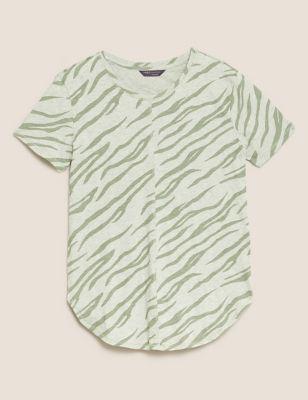 Pure Cotton Printed Longline T-Shirt