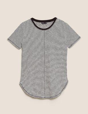 Pure Cotton Striped Longline T-Shirt