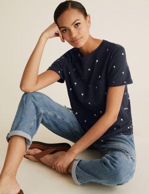 Pure Cotton Palm Tree Foil Print T-Shirt
