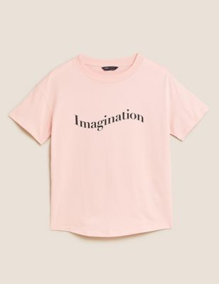 Pure Cotton Imagination Slogan T-Shirt