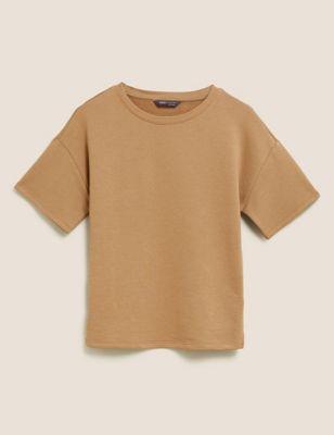 Cotton Crew Neck Short Sleeve Sweatshirt