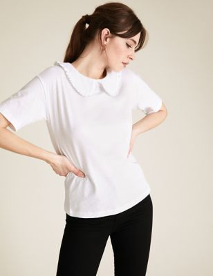 Pure Cotton Collared Short Sleeve T-Shirt