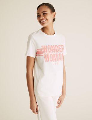 Pure Cotton Wonder Woman Slogan T-Shirt