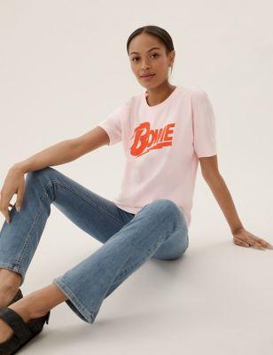 Pure Cotton Bowie Slogan Crew Neck T-Shirt