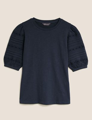 Pure Cotton Broderie Half Sleeve T-Shirt