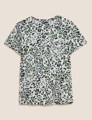 Pure Cotton Animal Print Crew Neck T-Shirt