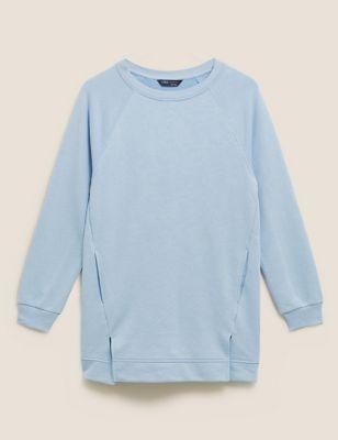Cotton Crew Neck Longline Sweatshirt