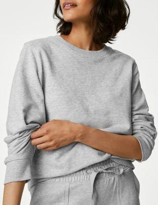 Cotton Crew Neck Long Sleeve Sweatshirt