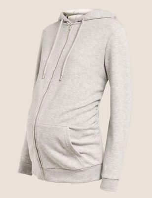 Maternity Cotton Zip Up Longline Hoodie