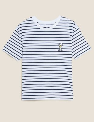 Pure Cotton Striped Snoopy™ T-Shirt