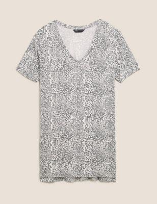 Animal Print V-Neck Longline T-shirt
