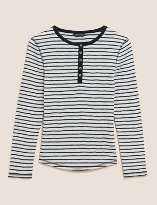 Pure Cotton Striped Long Sleeve Henley Top