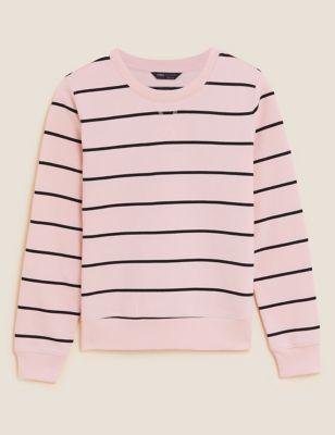 Cotton Striped Long Sleeve Sweatshirt