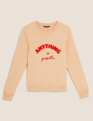 Cotton Slogan Long Sleeve Sweatshirt
