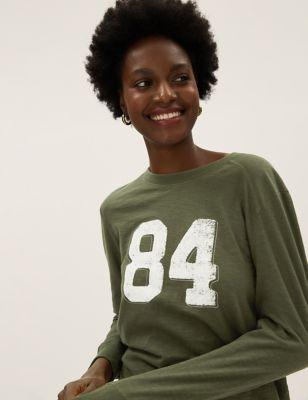 Pure Cotton 84 Slogan Long Sleeve Top