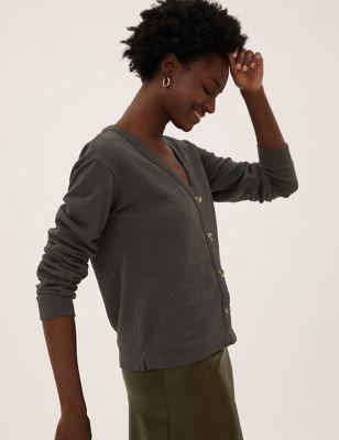 Pure Cotton Jersey Cardigan