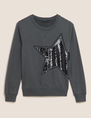 Cotton Embroidered Crew Neck Sweatshirt