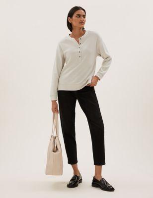 Cotton Textured Long Sleeve Henley Top